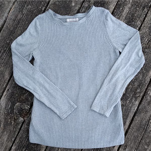 BR Gray Ribbed Cashmere Blend Raglan Sweater Sz M